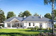 Willa Parkowa 6 on Behance Modern Bungalow Exterior, Classic House Exterior, Modern Bungalow House, House Plans Mansion, My House Plans, House Designs Ireland, One Storey House, House Plans With Pictures, House Outside Design