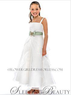 e30ba7a162a2 Disney Couture Dress SLEEPING BEAUTY-White Organza Dress with Satin Belt -  Sage Green $159.99. FlowerGirlDressForLess.com · Green Flower Girl Dresses