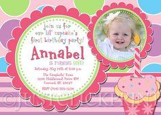Cupcake Birthday Invitation 1st Birthday by TheTrendyButterfly
