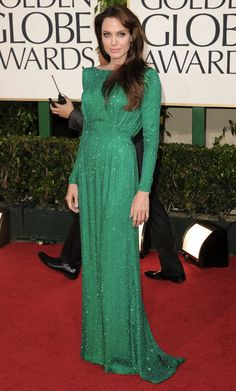 Golden Globes 2011-- Angelina Jolie-- love this shade of green!