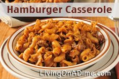 Our family's favorite! Looking for a FAST and inexpensive dinner? You can make this Hamburger Casserole in less than 15 minutes for around $2.50 for the entire family! Add some veggies and fruit and you have an entire meal for 6 for less than $5! Click here to get this fast and yummy #recipe from Dining On A Dime Cookbook http://www.livingonadime.com/store/dining-on-a-dime-cookbook/ .