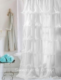 SHABBY RUFFLED SAVANNAH ELEGANT CHIC RUFFLES BATH SHOWER CURTAIN BLUE Or WHITE