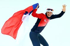 Martina Sablikova of the Czech Republic celebrates winning the gold medal during the Women's 5000m Speed Skating event (с) Getty Images
