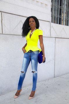 Neon Peplum + Ripped Jeans