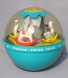 Fisher Price 80s Retro Toy Chime Ball with Rocking Horses and Swans