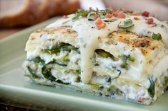 Six-Cheese Lasagna with Pancetta, Asparagus, and Spinach in a Summer Basil Cream Sauce