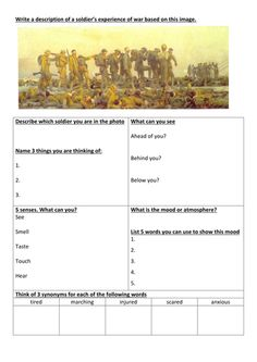 Descriptive writing about war trenches) AQA English Language Paper 1 Section B Descriptive Writing Activities, Creative Writing Worksheets, English Creative Writing, Creative Writing Exercises, Creative Writing Inspiration, Creative Writing Prompts, English Writing, Gcse English, Writing Ideas