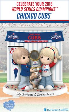 Victory has never tasted sweeter! Celebrate the 2016 World Series Champions, the Chicago Cubs with this LIMITED-EDITION officially-licensed Precious Moments figurine featuring three very excited lovable fans! Don't miss out on this one-of-a-kind collectible opportunity.