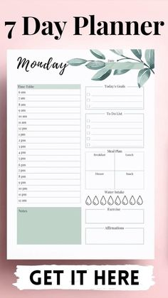 Printable Weekly Plan & Checklist PDF Download | Planner ...