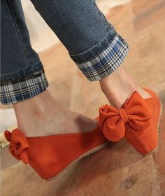 Heel Bowknot Round Toe Wedge Shoes $24.43 on @ClozetteCo