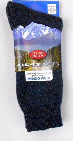 Merino Wool Blend Boot Socks Blue Mens Sz 10 to 13 Solid Clear Creek Christmas - Experience the comfort and performance of merino wool while wearing these mens boot socks which are ideal for Fall and Winter outdoor work or sporting events and activities.