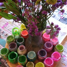 """Flowers provocation - love how the jars are used for the paint ("""",)"""