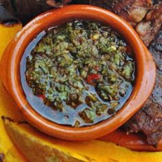 How to make Chimichurri Sauce for Meat - Simple, Easy-to-Make Cuban, Spanish, and Latin American Recipes with Photos. This goes with the skirt steak. Cuban Dishes, Spanish Dishes, Latin American Food, Latin Food, How To Make Chimichurri, Sauce Recipes, Cooking Recipes, Chicken Recipes, Sauces