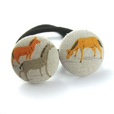 Horse Ponytail Holders  Horse Fabric Horse by UndercoverButton