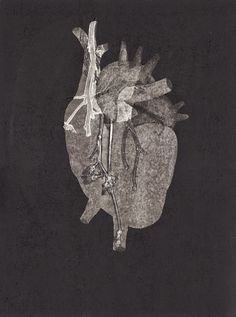 I have a love for anatomy specially human hearts and this one by French artist Sophie Lecuyer is catching my attention. The cut out heart on a black inked plate lets the heart pop out. Little detail was added to another plate, just the necessary to form a great composition.