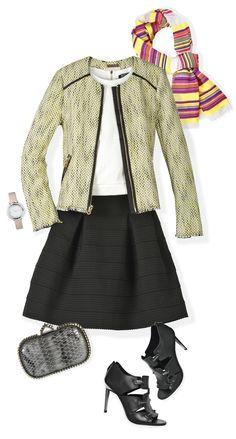 Si quieres usar un tank top corto y para no dejar el abdomen al descubierto, ponte una falda negra de cintura alta. Réstale sobriedad al outfit con una chamarra en tweed y un foulard multicolor. Termina el look con botines y clutch rockeros.