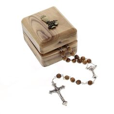 A neat mini wood rosary with wood box for a little boy making his First Holy Communion.