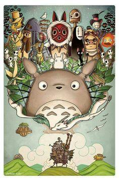 "✏️Peinture the world of Ghibli ""Totoro, Howl's Moving Castle, Spirited Away… this shows of all the great classics that made them who studio ghibli are today Art Studio Ghibli, Studio Ghibli Films, Studio Ghibli Characters, Hayao Miyazaki, Ghibli Tattoo, Manga Anime, Anime Art, Tattoo Film, Personajes Studio Ghibli"