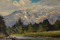 Snake River and The Tetons sold by Jackson Hole Art Auction, Jackson (WY), on Friday, September 2008 Wood Paintings, Seascape Paintings, Painting On Wood, Painting & Drawing, Robert Wood, Farm Art, Mountain Paintings, Sports Art, Western Art