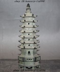 """7"""" Old Chinese Buddhism Temple pure bronze Wenchang Tower 7 floor stupa Pagoda"""