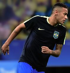 """barcelonaesmuchomas: """" Neymar warms up before the start the Rio 2016 Olympic Games mens first round Group A football match Brazil vs Denmark, at the Arena Fonte Nova Stadium in Salvador, Brazil on August 10, 2016. """""""