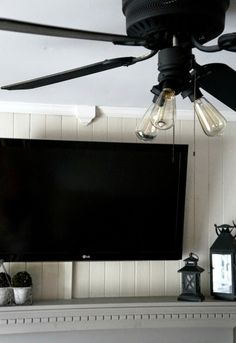 Easy Fix to an old Ceiling Fan. Black Flat Spray Paint and Edison bulbs.