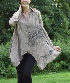Take a look at the Taupe Tree Sidetail Button-Up on #zulily today!