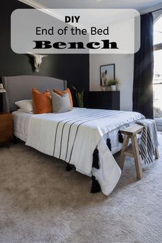 Build an easy DIY wood bench for the end of a bed. This project is fun to build and it looks beautiful. Scrap Wood Projects, Easy Diy Projects, Diy Wood Bench, Bed Bench, Bedroom Decor, Interior, Wood Work, Office Ideas, Foyer