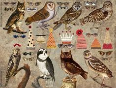 Paper doll owls