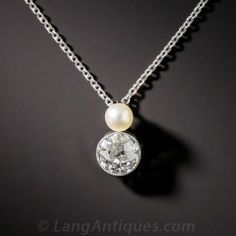 Edwardian Diamond and Pearl Pendant