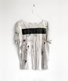Off white unisex distressed t-shirt black linen stripe across chest.pearl white mixed with hand painted light gray spots of pitch black throughout shirt T Shirt Crop Top, T Shirt Diy, Shirt Men, Crop Tops, Off White Tees, T Shorts, Mein Style, Black Linen, Alternative Fashion