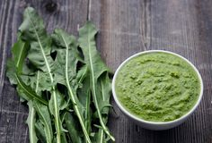 Go foraging for dandelion greens and make this nutritious dandelion pesto! Recipe is from the Alchemy of Herbs book by Rosalee de la Forêt.