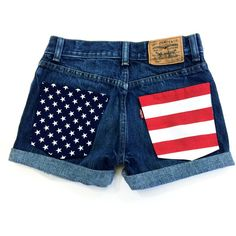 American Flag Shorts Levis High Waisted Denim Patriotic Shorts Dark... ($25) ❤ liked on Polyvore featuring shorts, grey, women's clothing, zipper pocket shorts, destroyed denim shorts, jean shorts, high rise denim shorts and distressed jean shorts