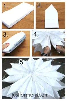 Decoración con estrellas para Año Nuevo hechas con bolsas de papel. Son fáciles de guardar para que vuelvas a usarlas en cualquier otra fiesta o evento.