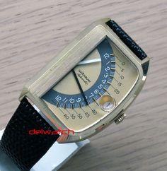 Wittnauer Futurama Jump Hour Digital Retrograde Watch Sector Flyback Hands 1972 - vintage watch