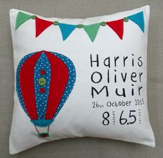 Personalised New Born Baby cushion for baby boy or girl. Hand printed on 100% Organic Cotton with appliquéd elephant and bunting detail by CalonB on Etsy