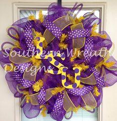 LSU Tigers Wreath - Fighting Tigers - Door Wreath - Football