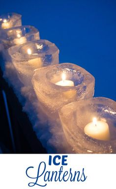 Easy to make Ice Lanterns - create a candle holder out of ice for a sparkling winter ice candle display. Perfect for a front porch, lining a driveway or a winter wedding.