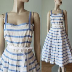 NICE 1950s Striped Cotton Organdy Summer Dress / 1950s Dress / Tabak of California / 50s Dress / Small Medium Vintage Summer Dresses, 50s Dresses, Vintage Outfits, Vintage Fashion, Box Pleat Skirt, Pleated Skirt, Party Wear, Party Dress