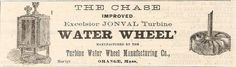 Old 1878 Chase Excelsior Jonval Turbine Water Wheel Ad Orange MA Massachusetts | eBay