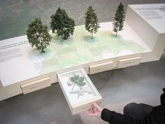 interesting display table with miniature samples standing and flat versions in drawers Museum Exhibition Design, Exhibition Display, Exhibition Space, Design Museum, Interactive Exhibition, Interactive Design, Display Design, Booth Design, Display Ideas