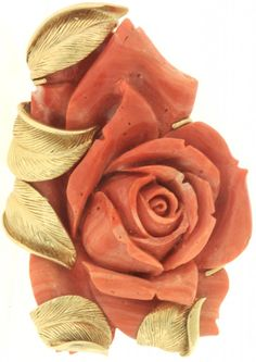 Vintage gold carved Red coral rose brooch.