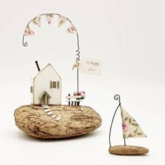 New in my shop today is this pretty little, pink roses, bunting cottage 🌸 It comes with matching driftwood sail boat ⛵ Little Cottages, Cottages By The Sea, Little Houses, Wood Projects, Projects To Try, Ceramic Houses, Wood Houses, Cornish Cottage, Small Wooden House
