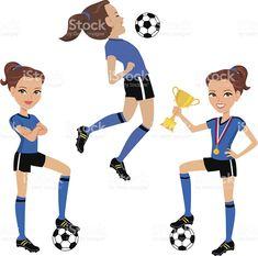 Resultado de imagen para dibujos de una niña jugando futbol