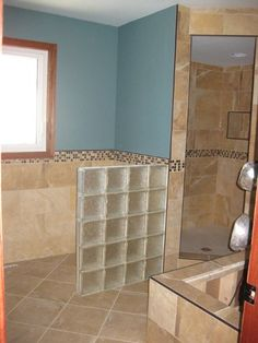 Place glass block between toilet and tub.