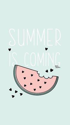 """Pour mes nouveaux fonds d'écran """"Summer is coming"""", j'ai opté pour la pastèque, les coeurs et la célèbre phrase de Jon Snow reprise en mode été. Enjoy !"""