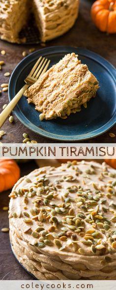 PUMPKIN TIRAMISU | A fun twist on classic tiramisu! Made with pumpkin spice, coffee and bourbon for a unique Thanksgiving dessert. #thanksgiving #dessert #recipe #pie #tiramisu #Italian #coffee #pumpkin | ColeyCooks.com