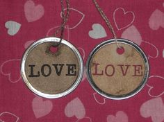 Items similar to 10 Primitive Grungy Rubber Stamped Metal Rimmed Hang Tags --Valentine - LOVE -- Imprinted Tag for Scrapbooking Embellishments on Etsy Love Tag, Cotton String, Burgundy Color, All You Need Is Love, Hang Tags, One Color, Happy Valentines Day, Heart Shapes, Primitive