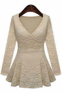 Stylish V-Neck Long Sleeve Lace Ruffled Blouse Women Elegant Dresses For Women, Lace Ruffle, Lace Peplum, Peplum Blouse, Ruffle Blouse, Blouse Designs, Blouses For Women, Women's Blouses, Fashion Dresses