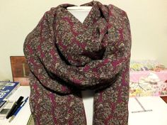 """This fabric reminds me of the French or English countryside.  Great lightweight, refined scarf for warmer weather. Extra Long French English Maroon Paisley Scarf made by """"Stitch Happens Here"""" on Etsy!"""